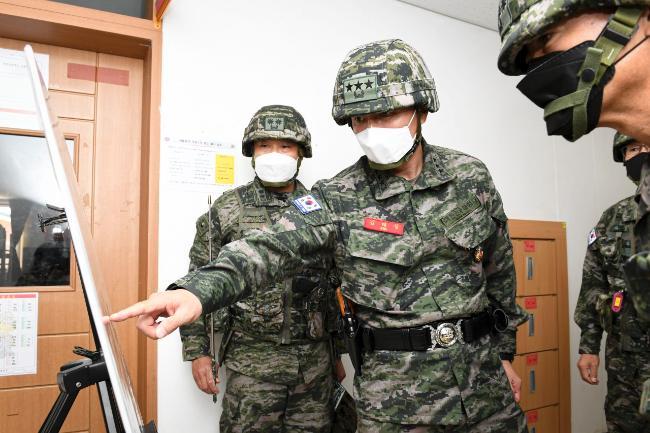 김태성 해병대사령관, 서측도서 코로나19 방역태세 점검.jpg